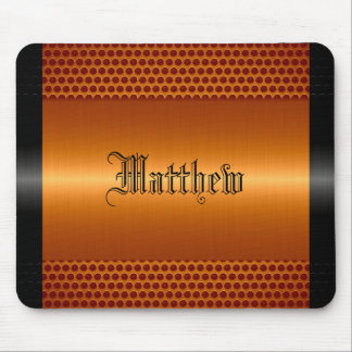 Orange Shiny Stainless Steel Metal Look Mouse Pad
