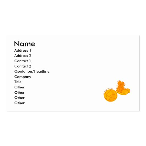Orange shoes & ball Double-Sided standard business cards (Pack of 100)