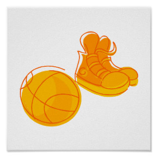 Orange shoes & ball poster