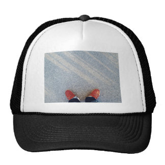 orange shoes outfit of the day trucker hat
