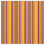 [ Thumbnail: Orange, Sienna, Violet & Maroon Stripes Pattern Fabric ]