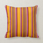 [ Thumbnail: Orange, Sienna, Violet & Maroon Stripes Pattern Throw Pillow ]
