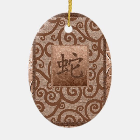 orange sign of the snake ceramic ornament