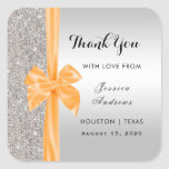 Orange Silk Bow Silver Sequins Thank You Square Sticker
