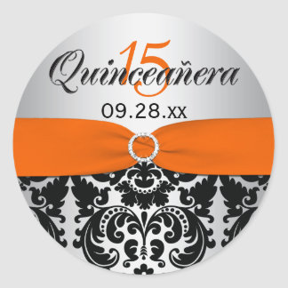 Orange, Silver, Black Damask Quinceanera Sticker