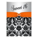 Orange, Silver, Black Damask Sweet 16 Invitation