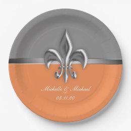 Orange Silver Fleur de Lis Paper Plate  sc 1 st  Zazzle & Fleur De Lis Wedding Plates | Zazzle