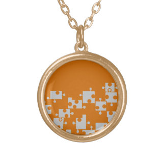 Orange, Silver & Gold Puzzle Necklace