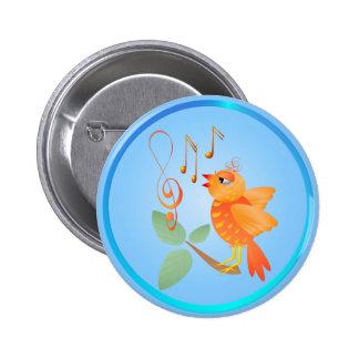 Orange Singing Bird Buttons