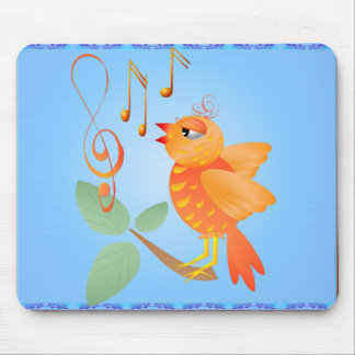 Orange Singing Bird Mousepad