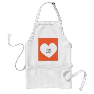 Orange Single Heart Add Photo Frame Adult Apron