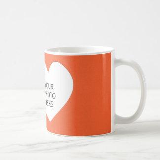 Orange Single Heart Add Photo Frame Coffee Mug