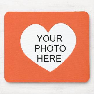 Orange Single Heart Add Photo Frame Mouse Pad