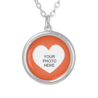 Orange Single Heart Add Photo Frame Silver Plated Necklace