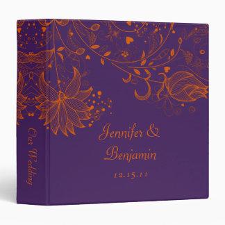 Orange Sketched Flowers on Dark Purple Photo Album 3 Ring Binder