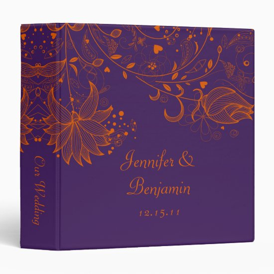 Orange Sketched Flowers on Dark Purple Photo Album 3 Ring Binder