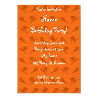 Orange ski pattern 5x7 paper invitation card