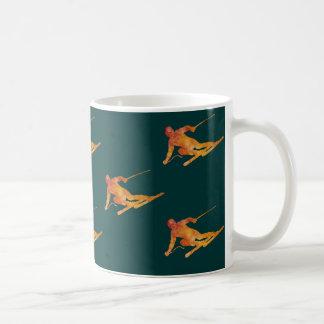 Orange Skiers Coffee Mug