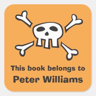 Orange skull bookplate sticker/book label for boys square sticker