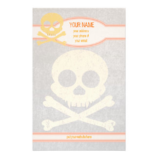 Orange Skull Distressed Personalized Stationery