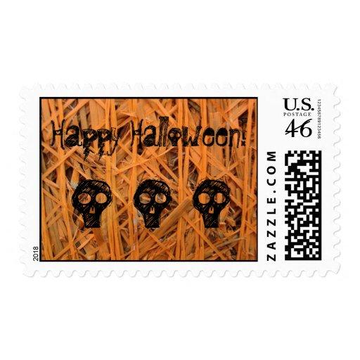 Orange Skull Happy Halloween Stamps