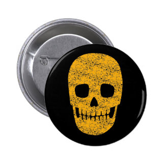 Orange Skull Pin Button - Halloween Favors