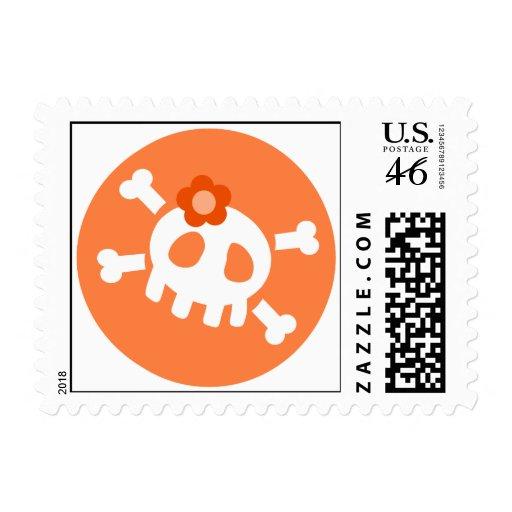 Orange Skull Postage Stamp