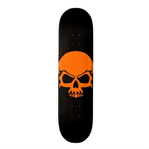 Orange Skull Skateboard