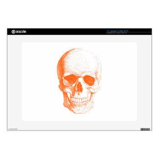 Orange skull laptop skin