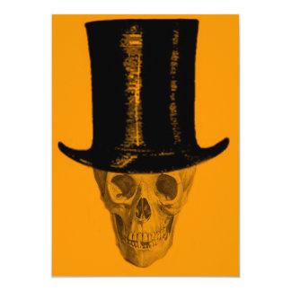 Orange Skull Top Hat 5x7 Paper Invitation Card
