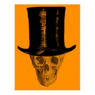 Orange Skull Top Hat Postcard