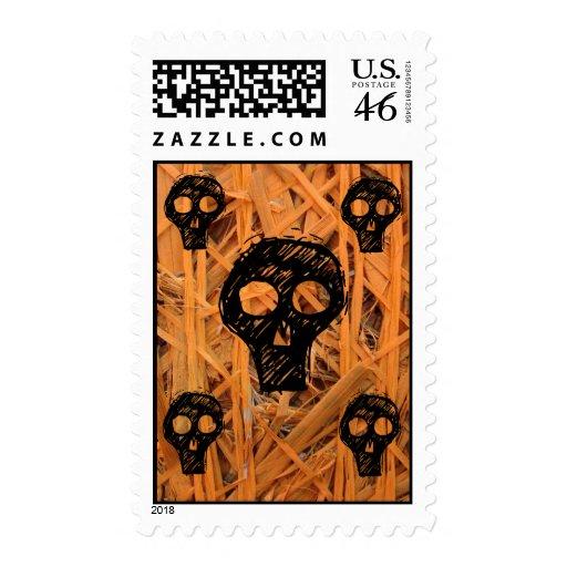 Orange Skulls Stamps