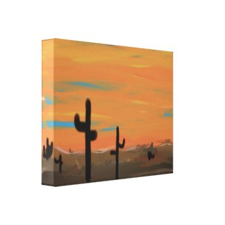 Orange Sky and Cacti Wrapped Canvas Painting wrappedcanvas
