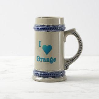 Orange -- Sky Blue Beer Stein