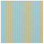 [ Thumbnail: Orange & Sky Blue Colored Pattern of Stripes Fabric ]