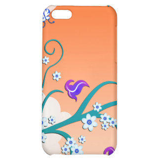 Orange Sky, Cherry Blossoms & Butterflies iPhone 5C Cases