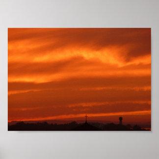 Orange sky over Venice (Venezia), Italy Poster