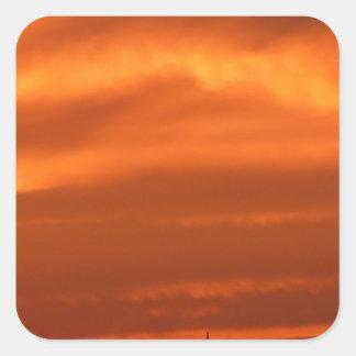 Orange sky over Venice (Venezia), Italy Square Sticker