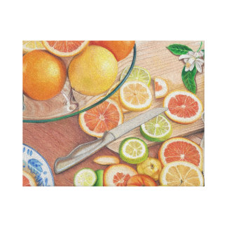 orange slice display colored pencil drawing print