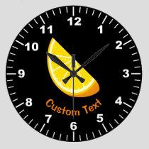 Orange Slice Large Clock