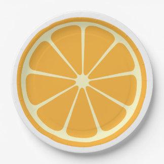 "Orange Slice Paper Plates 9"""