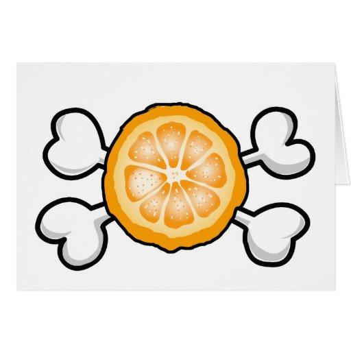 orange slice Skull and Crossbones Greeting Cards