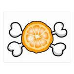 orange slice Skull and Crossbones Postcard