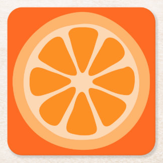 Orange Slice Square Paper Coaster