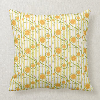 Orange slices and flower with orange stripes patte pillows