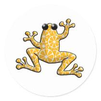 Orange Slices Frog Classic Round Sticker