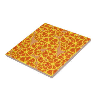 Orange Slices Pattern Ceramic Tile