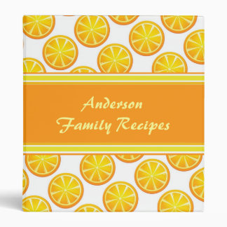 Orange Slices Personalized Family Recipe Binder
