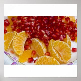 Orange Slices, Pomegranate Seeds Poster