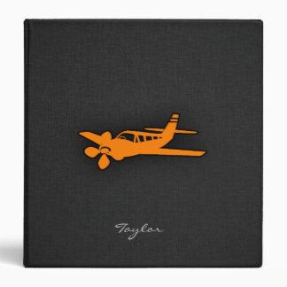 Orange Small Airplane 3 Ring Binder